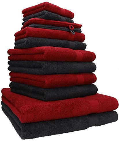 Betz 12-tlg. Handtuch Set PREMIUM 100% Baumwolle 2 Duschtücher 4 Handtücher 2 Gästetücher 2 Seiftücher 2 Waschhandschuhe Farbe rubinrot/graphit