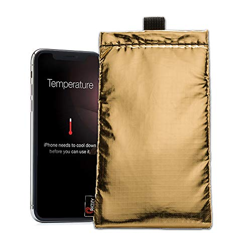 PHOOZY Apollo Series Thermal Phone Cases - Insulated Ultra-Slim Weatherproof Padded Pouch Prevents Overheating, Complete Sun Protection, Extends Battery Life, Shockproof, Floating Case [Gold - Medium]