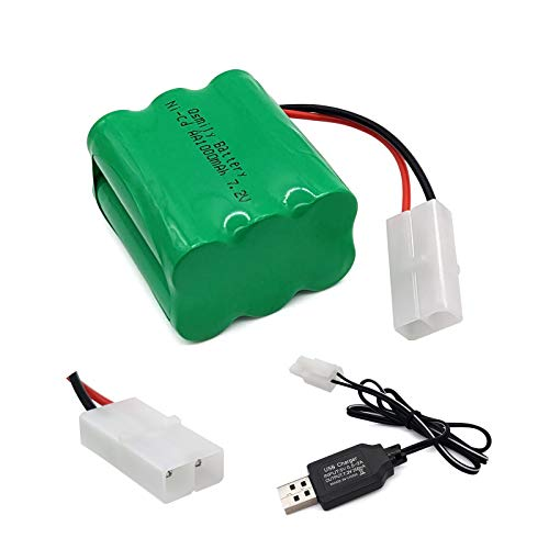 Qsmily 7.2V RC Battery, 1000mAh Ni-Cd Rechargeable AA Battery Pack with Tamiya Connector and Charge Cable, Suitable for RC Truck RC Excavator RC Battleship RC Robot