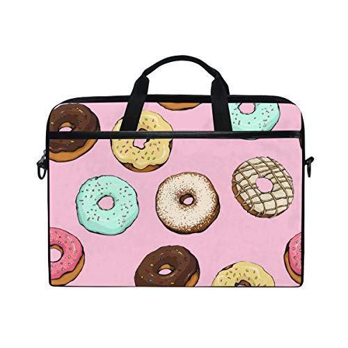 Rootti Laptop Case Donut Sweet Desserts Laptop Shoulder Bag Handle Canvas Notebook Briefcase Computer Sleeve with Adjustable Shoulder Strap for 14 15 15.4 inch