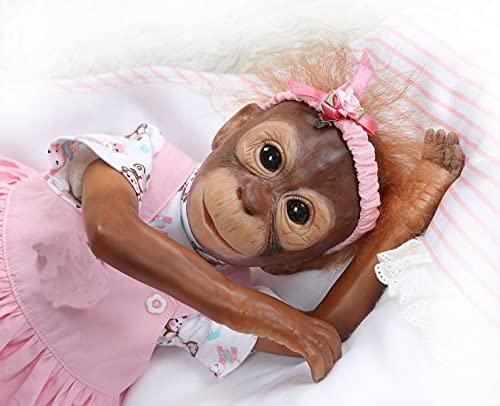 iCradle Muñecas Reborn Cuna Renace Mono Reborn Silicona Vinilo Muñeca 21 Pulgadas Bebé recién Nacido Muñeca Mira Reallife Bebe Reborn Piel de Mono Azul Los Mejores Regalos Sorpresa (21Inch)