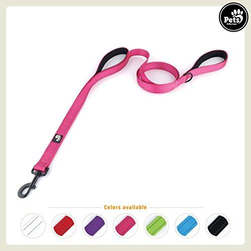 Pets&Partner® Hundeleine aus Nylon mit 2 Griffen in verschiedenen Farben für mittelgroße und große Hunde farblich passend zu Halsband und Geschirr, Hot Pink