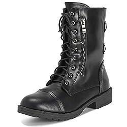 commercial Military Winter Fashion Zip Boots Mid Calf Viva Ladies Combat Outside Pocket-Black-EU39 / US8 -… combat boots guess