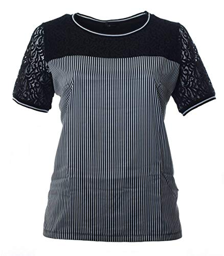 No Secret Damen T-Shirt Seide-Optik mit Spitze Schwarz große Größen Baumwolle, Größe:48