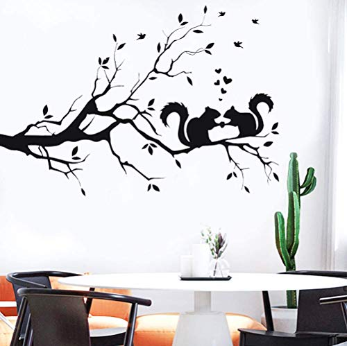 LZYMSZ árbol ramas decoración de la pared calcomanía ardilla pegatina hojas de guardería, bricolaje extraíble vinilo pared arte papel tapiz mural decoración del hogar para sala de estar