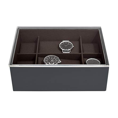 Stackers Charcoal Watch Box With Acrylic Display Lid
