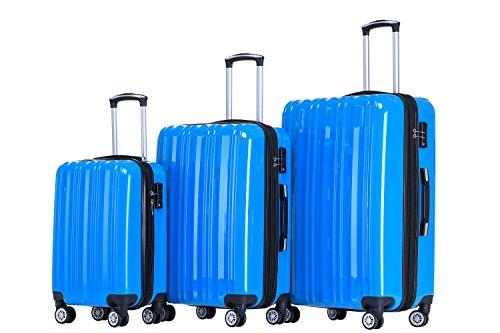 Münicase Münicase TSA-Schloß Koffer Reisekoffer Trolley Kofferset (Türkis, 3tlg. Kofferset)