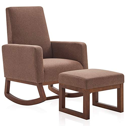 BELLEZE Modern Rocking Chair Upholstered Fabric High Back Armchair Padded Seat for Living Room, Gray