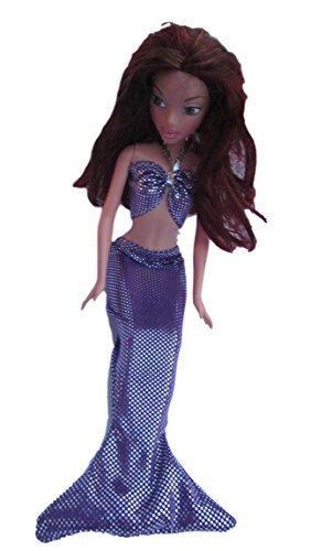 fat-catz-copy-catz Violett Made for Barbie Puppen süße Ariel meerjungfrau Outfit Fischschwanz Kleid & BH top (Puppe Nicht enthalten)