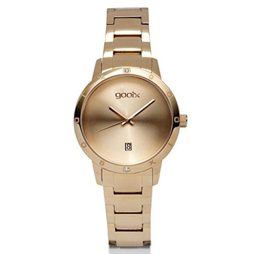 gooix DUA-05896 Uhr Damenuhr Edelstahl vergoldet 5 bar Analog Datum Rose