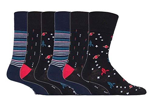 Gentle Grip - 6er pack herren comfort ohne gummi b& mittellang business bunt socken in 35 farben (MGG548 Space/Stars)