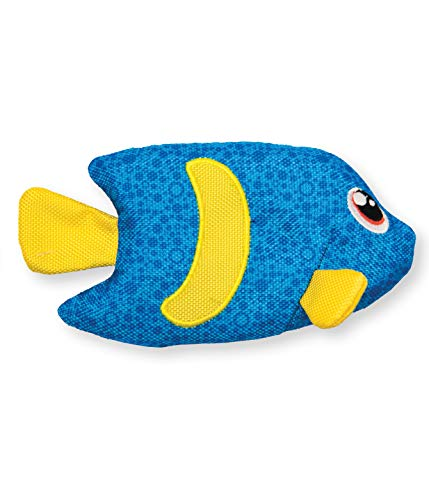 Outward Hound Floatiez Angel Fish Floating Dog Toy for Water Play - Beach and Pool Fetch Games, Small, Blue