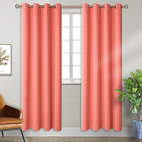 BGment Blackout Curtains for Bedroom Eyelet Thermal Insulated Room Darkening Curtains for Living Room, 2 Window Curtain Panels (W46 X L90, Coral)