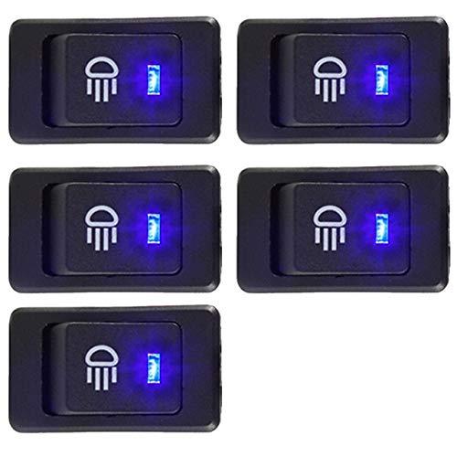 XXYHYQHJD Interruptor 5Pcs 12V 35A Car luz de Niebla Rocker Toggle 4Pin luz LED Dash Interruptor del salpicadero Panel Styling Car (Color : Azul, Size : Gratis)