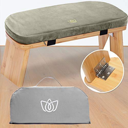 Florensi Meditationsbank (45,7 x 17,8 x 15,2 cm), Bambus, klappbarer und ergonomischer Meditationshocker, stabile Gebetsbank, bequem zum Knien oder Sitzen, perfekt für tiefere und längere Meditation