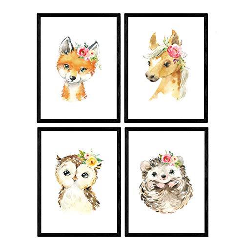 Pack de cuatro láminas con ilustraciones de animales. Posters con imágenes infantiles de animales. Erizo caballo zorro y buho. Tamaño A4 sin marco…