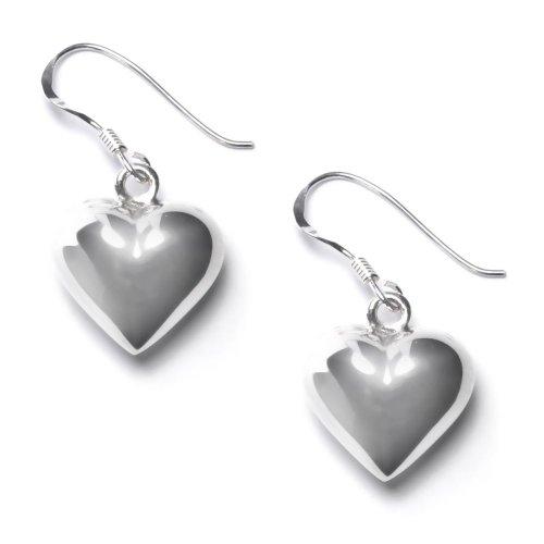 81stgeneration Women's .925 Sterling Silver Puffed 15 mm Heart Dangle Earrings