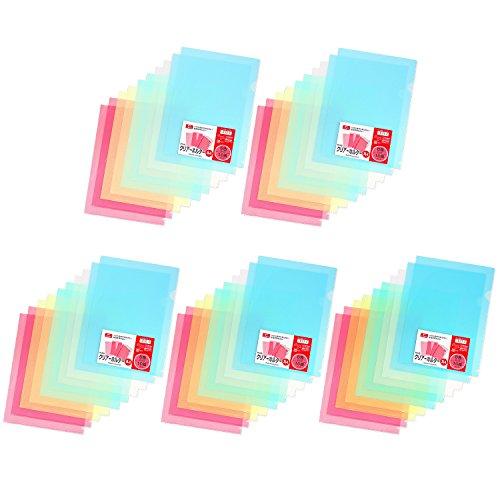 プラス クリアホルダー A4 10枚パック×5=50枚入 カラーミックス 88-107×5