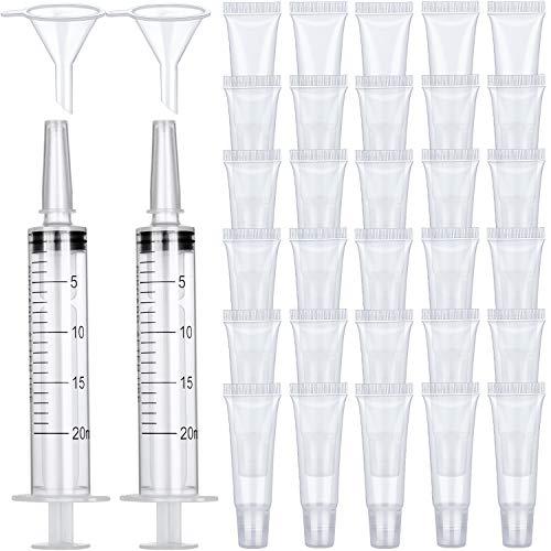 40 Piezas Contenedores Vacíos de Tubo de Brillo Labial, 2 Piezas Jeringa de Plástico de 20 ml sin Agujas y 2 Piezas Embudos de Plástico para Mujeres Niñas Cosméticos Brillo Labial de Bricolaje