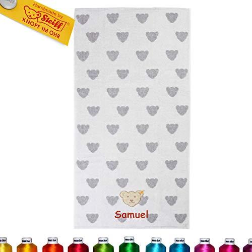 LALALO Steiff Kinder & Baby Handtuch Bestickt mit Namen, Frottee Kinderhandtuch personalisiert, Mädchen & Junge, Grau Softgrey Melange (50 x 100 cm)