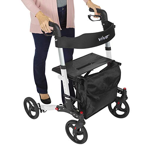 Vive Folding Rollator Walker - 4 Wheel Medical Rolling Walker with...