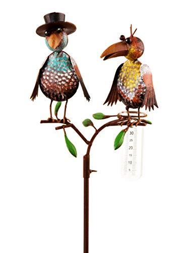Gartenstecker Regenmesser mit Glas Rabenpaar aus Metall 138 cm hochVögel bunt lackiert