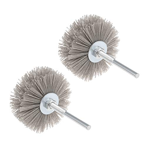uxcell Nylon Wheel Brush 180 Grits Abrasive Grinding Head with 6mm Threaded Shank 2 Pcs