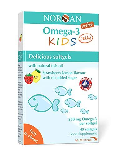 NORSAN Premium Omega 3 KIDS Jelly 45 - 1.000mg dose giornaliera - 4000 medici raccomandano Norsan Omega 3 - Jelly per bambini facile da masticare, senza ritorno di gusto