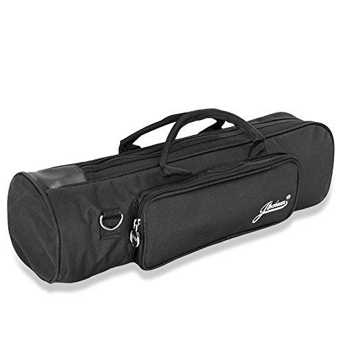 Flexzion Senior Gigbag für Trompete, strapazierfähig, weiches Nylon, gepolstert, tragbares Instrumentenzubehör mit doppeltem Reißverschluss und verstellbarem Schultergurt in Schwarz