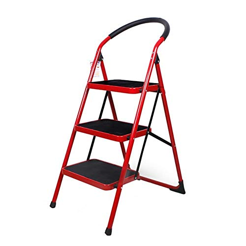 XITER 2/3 Paso Espesar Escaleras Muebles Escaleras Plegables Escaleras Interiores Escalera Taburete pequeño Paso Hierro Taburetes livianos (Color : Rojo, Tamaño : 3 Floors)