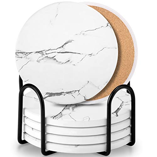 Coaster Sets of 6 Pieces, Absorbent CeramicStone Marble Pattern Coasters with Cork Base, White Coasters for Drinks with Metal Holder Stand, Decorations for Living Room and Coffee Table Décor