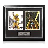 Exclusive Memorabilia Photo du Tour de France signée par Bradley Wiggins: célébration. Encadré