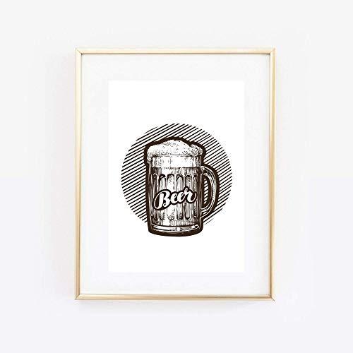 Din A4 Kunstdruck ungerahmt - Beer Bier Bierglas Alkohol Grafik Druck Poster Bild