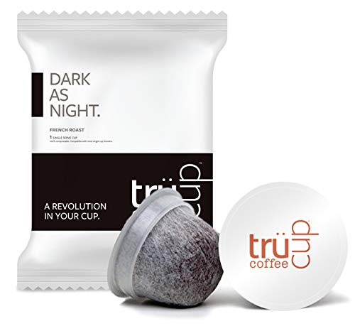 trücup Low Acid Coffee- Dark as Night French Roast- Biodegradable 48 Count Coffee Pods- Smooth, Dark Roast- Can Be Gentle on the Stomach