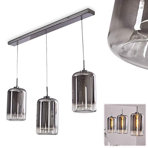 Pendelleuchte Arum, Hängelampe aus Metall/Glas in Chrom/Rauchglas, 3-flammig, 3 x E27 max. 60 Watt, Höhe max. 150 cm, moderne Hängeleuchte, LED geeignet…