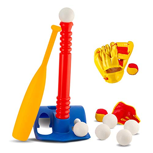 Tee-Ball Sport Set - 6 Balls and 1 Soft Ball with Bat & Glove to Develop Baseball & Softball Skills - Primary Color Set for Kids in Carry Case