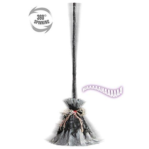 Amakando Halloween Besen Hexe Tanzender Hexenbesen mit Sound Halloween Dekoration Hexen Kostüm Accessoire Hexenkostüm Zubehör Gruselige Partydeko