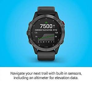 Garmin fenix 6 Pro Solar, Solar-Powered Multisport GPS Watch, Advanced Training Features and Data, Slate Gray with Black Band