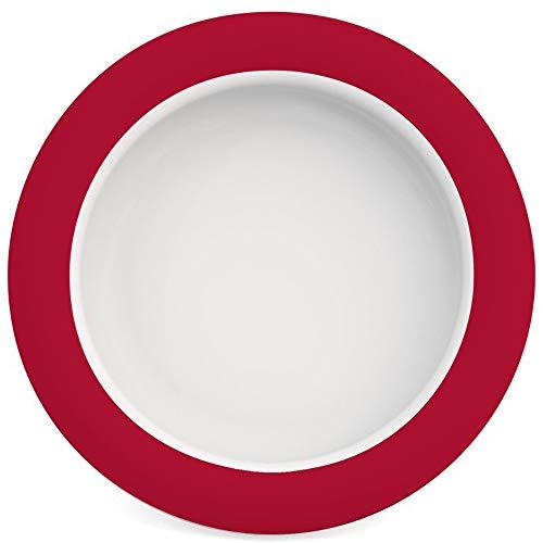 Ornamin Teller mit Kipp-Trick Ø 20 cm rot | Spezialteller mit Randerhöhung für selbstständiges Essen | Esshilfe, Melamin, Anti-Rutsch Teller, Tellerranderhöhung