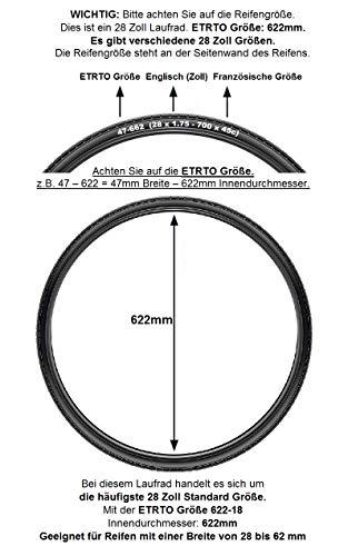 REDONDO 28 Zoll Hinterrad Laufrad Felge Schwarz Disc + 8-fach Shimano Kassette - 2