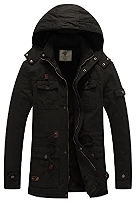 WenVen Men's Fleece Cotton Parka Military Jacket with Removable Hood B-Black L from