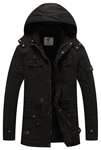 WenVen Men's Fleece Cotton Parka Military Jacket with Removable Hood B-Black S