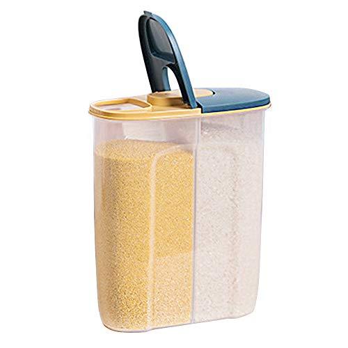 2 in 1 Bote Cereales con Hermético Cubierta,2.5L Recipientes de Secos Cereale para Almacenamiento,Plástico Caja Alimentos Libre de BPA para Cocina,Dispensador Almacenamiento de Harina Azúcar (Azul)