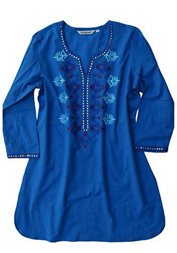 Ayurvastram Ivy Pure Cotton, Embroidered Tunic, Top, Kurti: Blue: Sz3X