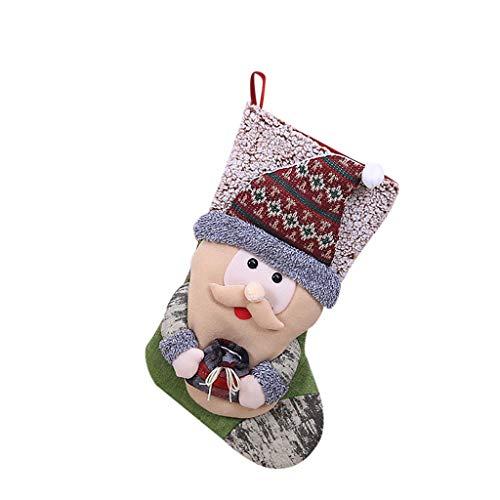 carol -1 Weihnachtssüßigkeitstasche, Kindergeschenktasche-Beutel-Weihnachtsgeschenk-Baum-Verzierungs-Strumpf-Weihnachtsmann-Schneemann-Socken-Dekor, Nikolausstiefel zum Befüllen & Aufhängen