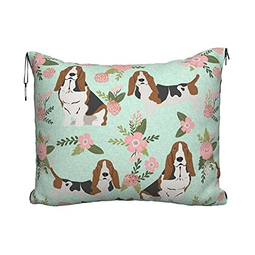 Manta de viaje portátil 2 en 1 para sofá de avión para coche, oficina, hogar, dormir siesta, manta para mascotas, manta de perro y raza de perro a juego floral