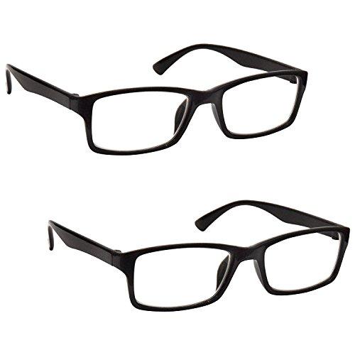 The Reading Glasses Lunettes de Lecture Noir Lecteurs Valeur Set de 2 Designer Style Hommes Femmes RR92-1 +2,50