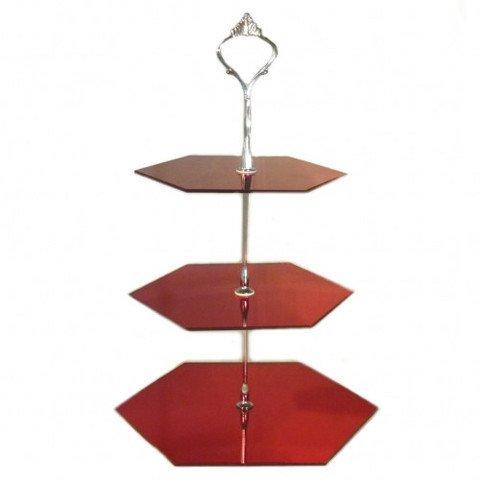 ServeWell Tre livelli esagono basamento della torta, Mirrored Red, large