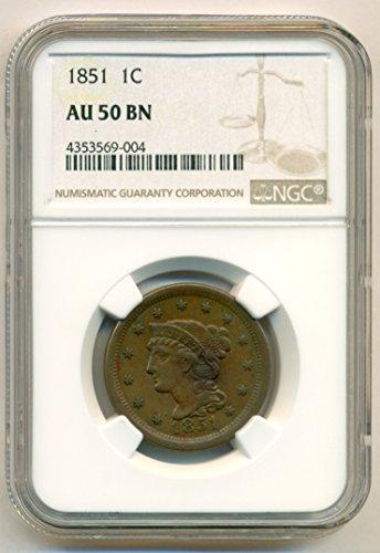 1851 Braided Hair Cent AU50 BN NGC