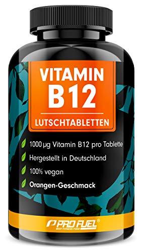 Vitamin B12 Lutschtabletten 240x mit 1000µg (mcg) aktives Methylcobalamin - Orange-Geschmack - vegan & hochdosiert - vegane Tabletten zum Lutschen - Ohne Zuckerzusatz - mit Xylit gesüßt - ProFuel
